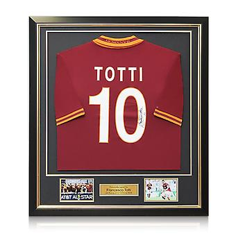 Francesco Totti Signed AS Roma 2013-14 Home Shirt In Deluxe Black Frame With Gold Inlay