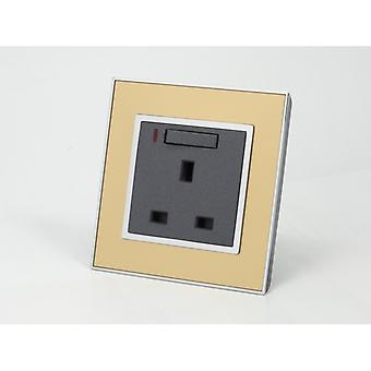 I LumoS AS Luxury Gold Mirror Glass Single Switched with Neon Wall Plug 13A UK Sockets