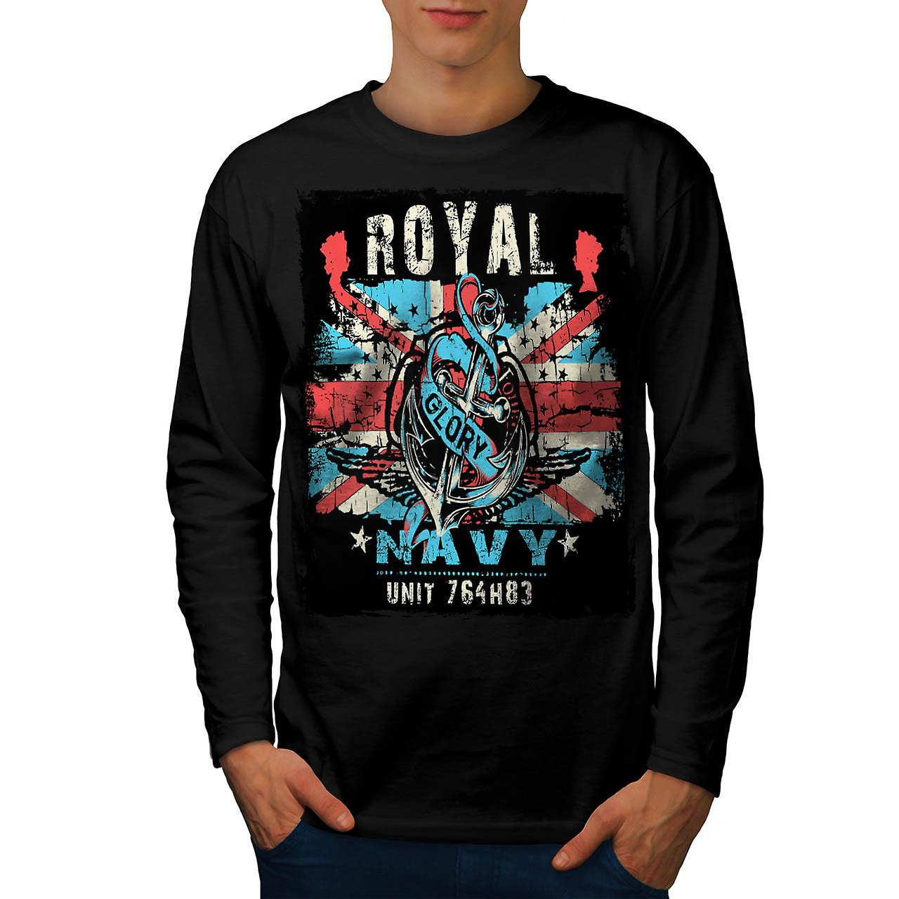 Royal Navy Glory UK British Rule Men Black Long Sleeve T-shirt | Wellcoda