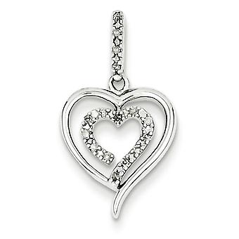 Sterling Silver Diamond Heart Pendant - .10 dwt