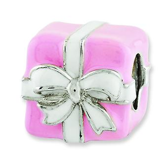 Sterling Silver Polished Antique finish Reflections Pink and White Enameled Present Bead Charm