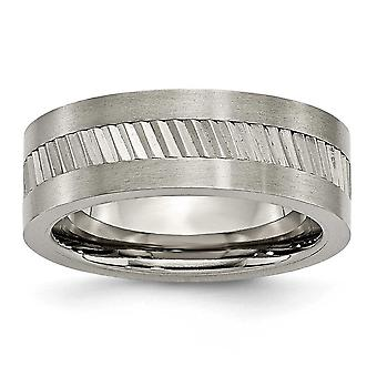 Titanium Engravable Base With Sawtooth Accent Flat Polished 8mm Band Ring - Ring Size: 7 to 12.5
