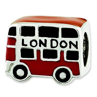 Sterling Silver Polished Antique finish Reflections Enamel London Double Decker Bus Bead Charm