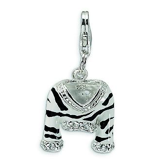 Sterling Silber CZ poliert Emaille Zebra Jacke mit Hummer Spange Charme - Maßnahmen 28x15mm