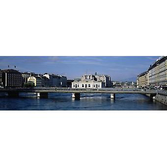Bridge over a river Geneva Switzerland Poster Print