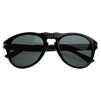 Vintage geïnspireerde P-3 ronde hoorn omrande zonnebril