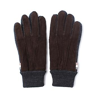 Aquascutum Vector Brown Suede Knitted Gloves