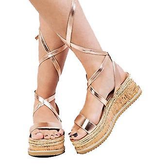 Lace Up gevlochten Cork wig platte Espadrille sandalen Rose goud
