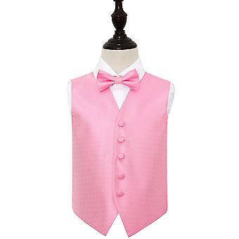 Boy's Baby Pink Greek Key Wedding Waistcoat & Bow Tie Set