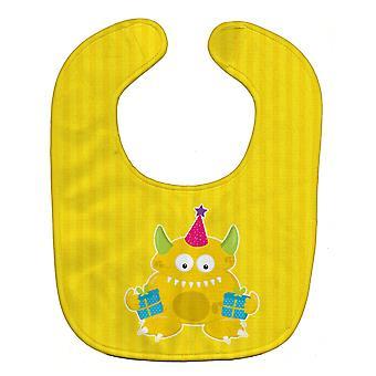 Carolines tesoros BB8937BIB cumpleaños monstruo amarillo el babero del bebé