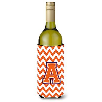 Letter A Chevron  Orange and Regalia Wine Bottle Beverage Insulator Hugger