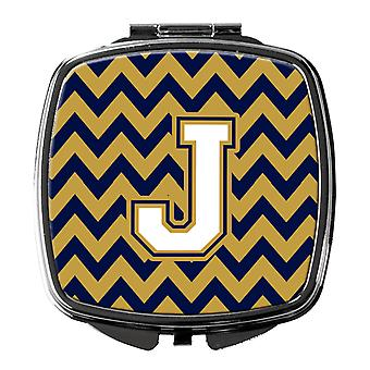 Letter J Chevron Navy Blue and Gold Compact Mirror