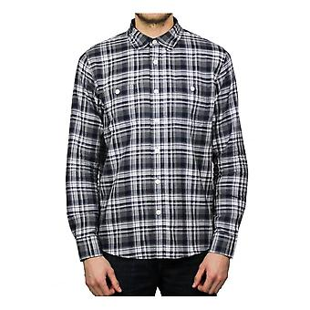 Edwin Jeans Labour Long-Sleeved Shirt (Navy/Grey)