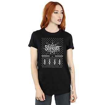 Slipknot Women's 9 Point Christmas Boyfriend Fit T-Shirt