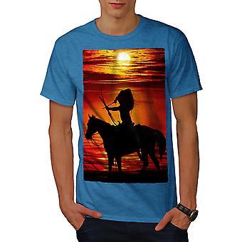 Horse Sea Sunset Men Royal BlueT-shirt | Wellcoda