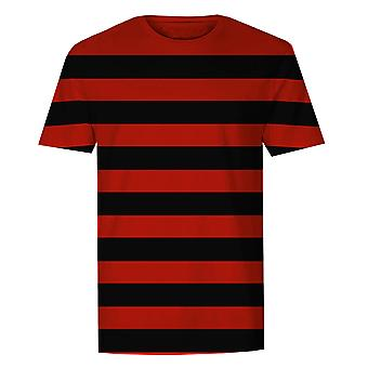The T-Shirt Factory Mens Red And Black Striped T-Shirt