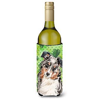 Australian Shepherd St. Patrick's Wine Bottle Beverge Insulator Hugger