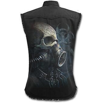 Spiraal-bio Skull-mens mouwloos steen gewassen werknemer, zwart