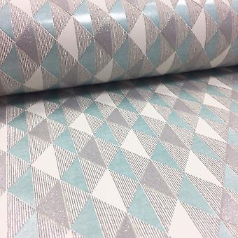 Harlequin Geometric Triangle Wallpaper Glitter Textured Vinyl Teal White Rasch