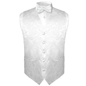 Men's Paisley Design Dress Vest & Bow Tie BOWTie Set for Suit Tuxedo