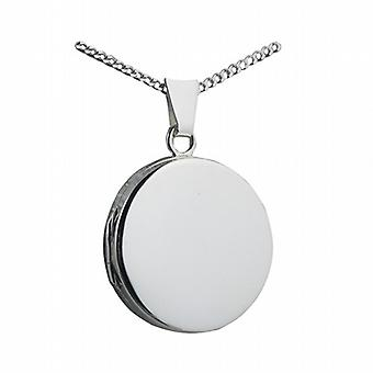 Silver 20mm plain flat round Locket with a curb Chain 18 inches