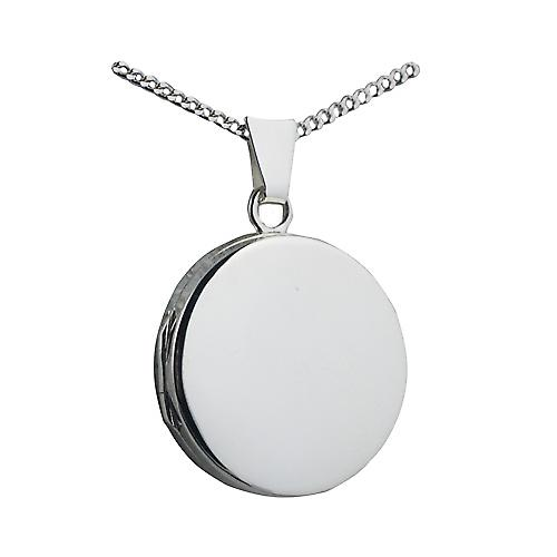 Silver 20mm plain flat round Locket with a curb Chain 22 inches