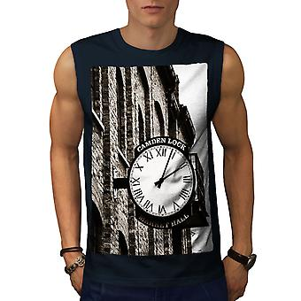 Straat oude klok Vintage mannen NavySleeveless T-shirt | Wellcoda
