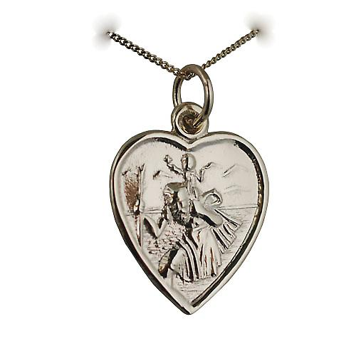 9ct Gold 17x16mm heart St Christopher Pendant with a curb Chain 16 inches Only Suitable for Children