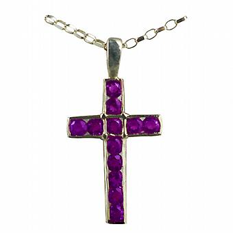 9ct Gold 25x16mm Apostle's Cross set with 12 Amethysts with a belcher Chain 16 inches Only Suitable for Children