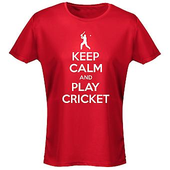 Keep Calm And Play Cricket Womens T-Shirt 8 Colours (8-20) by swagwear