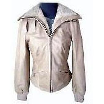 Acanthus Womens Off White Leather Jacket With Faux Fur Collar