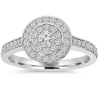1/2ct Double Halo Round Diamond Engagement Ring 10K White Gold