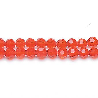 Strand 70+  Red Czech Crystal Glass 8mm Faceted Round Beads GC3560-3