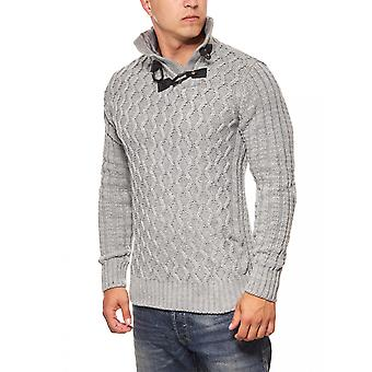 Tazzio fashion Emimay men's knitted jumper grey stand-up collar faux fur