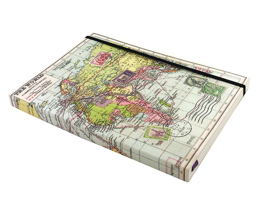 A5 Notebook with World Map in Travel Range