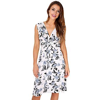 KRISP Rose Stampa nodo frontale Dress