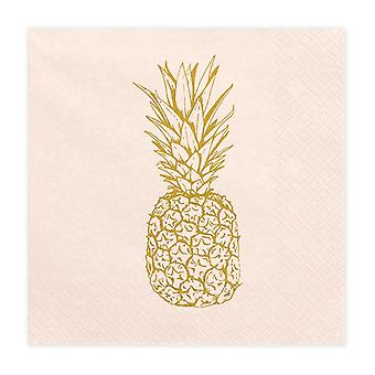 Aloha Paper Party Napkins with Gold Pineapple x 20 Tropical