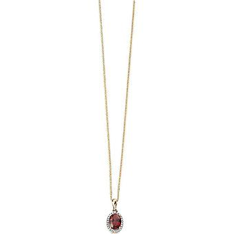 Elements Gold Kaleidoscope 9ct Gold Garnet and Diamond Oval Cluster Pendant - Red/Gold