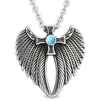 Angel Wings Celtic Viking Cross Magic bevoegdheden Amulet gesimuleerd Turquoise hanger 18 inch ketting