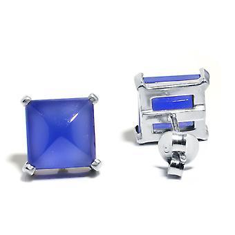 Gemshine - damer - örhängen - 925 Silver - Kalcedon - blå - 10mm