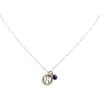 Ladies - necklace - pendants - Angels - guardian angel - 925 Silver - sapphire - blue - 1.3 cm