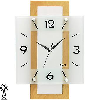AMS 5507 wall clock radio radio controlled wall clock analog wood beech massive angular with glass