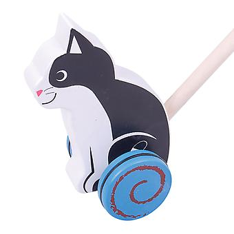 Bigjigs Toys Wooden Cat Push Along - Walking Toys for Babies and Toddlers