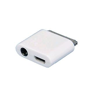 SellNet micro USB line out adapter connector voor Apple iPhone 3G/3GS 4/4S iPad 1/2 iPod, (wit)