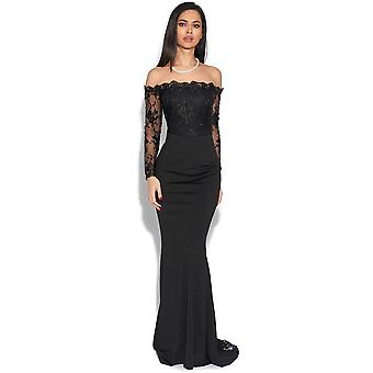Luxe Bardot Lace Fishtail Maxi Dress