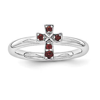 2,25 mm Sterlingsilber rhodiniert stapelbar Ausdrücke Rhodium Granat Kreuz Ring - Ring-Größe: 5 bis 10