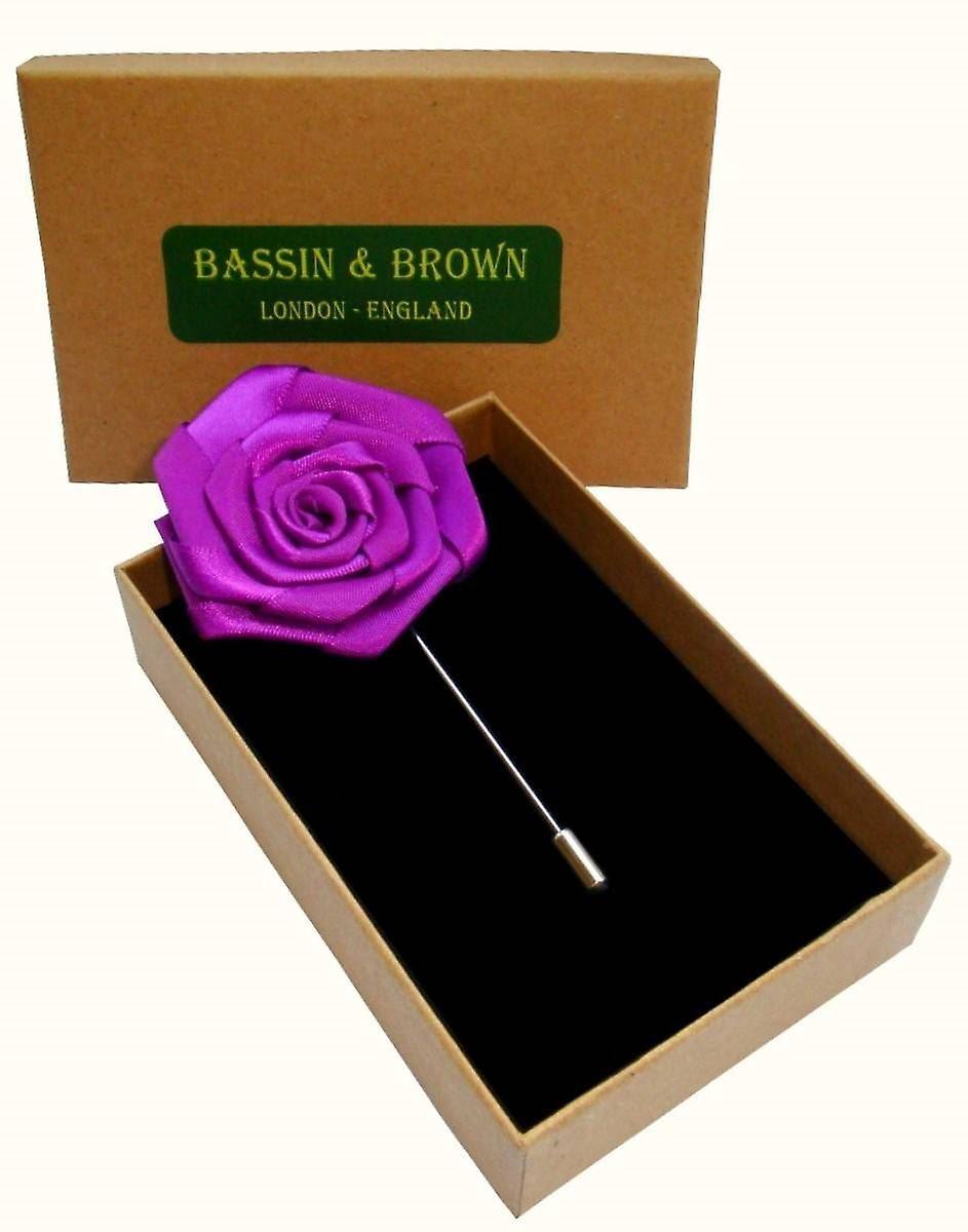 Bassin and Brown Rose Jacket Lapel Pin - Purple