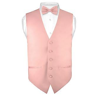 Mens schlanke Passform Kleid Weste Fliege Solid Fliege Taschentuch legen