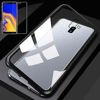 Pour Samsung Galaxy J4 plus J415F aimant / métal / verre pochette affaire mm noir / transparent + 0,26 H9 verre dur