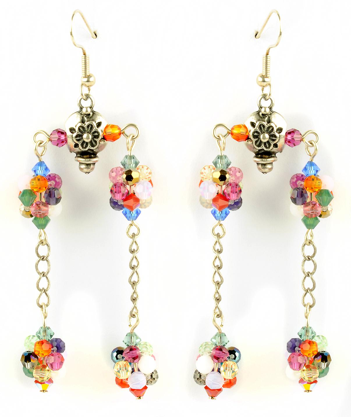Waooh - Fashion Jewellery - WJ0787 - On Earrings with Swarovski Green Blue Pink Purple White - Frame Color Silver